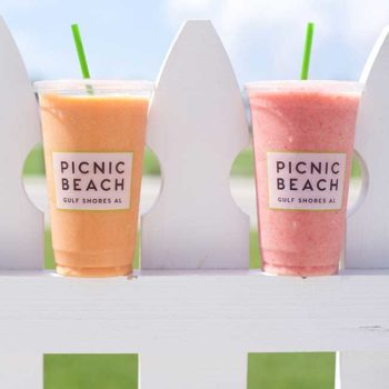 Fresh fruit smoothies at picnic beach in gulf shores alabama